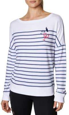 Betsey Johnson Striped Embroidered Pullover Sweatshirt