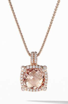 David Yurman Chatelaine Pave Bezel Pendant Necklace with Morganite and Diamonds in 18K Rose Gold