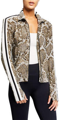 Norma Kamali Python-Print Side Stripe Turtleneck Jacket