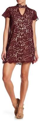 Blu Pepper Mock Neck Cutout Lace Dress