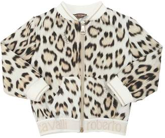 Roberto Cavalli Leopard Zip-Up Cotton Sweatshirt