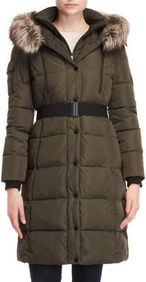 BCBGeneration Faux Fur-Trimmed Belted Long Coat