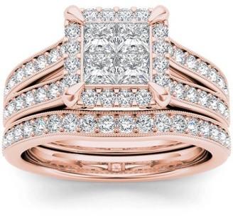 Imperial Diamond Imperial 1-1/2 Carat T.W. Diamond Split Shank Cluster Halo 14kt Rose Gold Engagement Ring Set