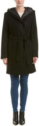 T Tahari Kourtney Hooded Wrap Wool-Blend Coat