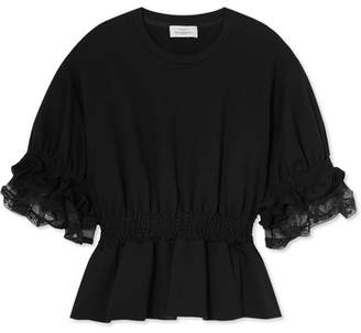Preen by Thornton Bregazzi Scarlet Ruffled Cotton-jersey Top - Black