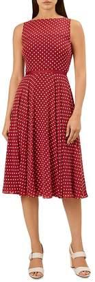 Hobbs London Della Sleeveless Dot-Print Dress