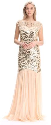 Co Pilot-trade clothing trade Pilot-trade Women's 1920s Beaded Sequin Maxi Long Gatsby Party Flapper Prom Dress (,S)