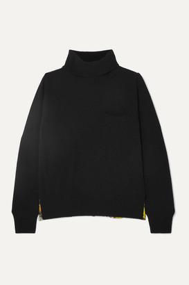 Sacai Jackson Pollock Wool And Printed Pleated Chiffon Turtleneck Sweater - Black