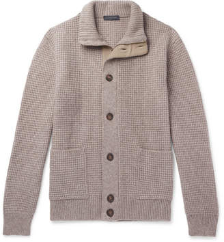 Thom Sweeney Suede-Trimmed Waffle-Knit Cashmere Zip-Up Cardigan