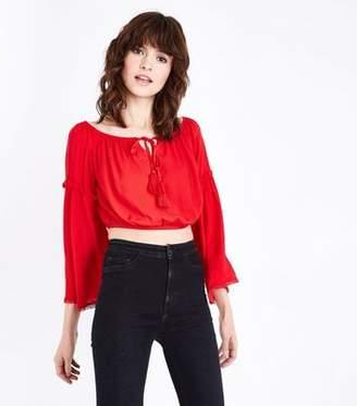 New Look Red Bell Sleeve Tassel Bardot Crop Top