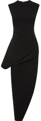 Rick Owens - Asymmetric Cotton-blend Crepe Dress - Black $955 thestylecure.com