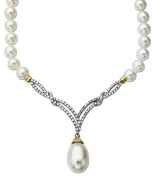 Lord & Taylor Freshwater Pearl Necklace with Diamonds in 14 Kt. Yellow Gold, 0.3 ct. t.w.