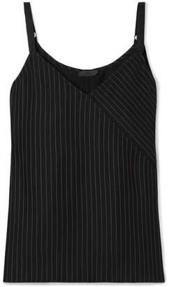 ATM Anthony Thomas Melillo Wrap-effect Pinstriped Crepe Camisole - Black
