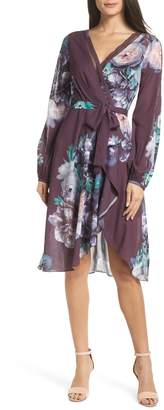 Chelsea28 Floral Print Faux Wrap Dress