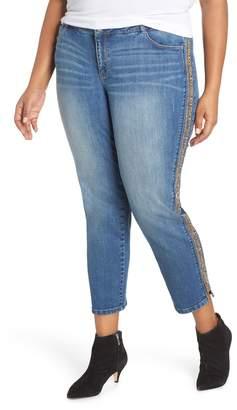 Wit & Wisdom Flex-ellent Leopard Stripe Slim Straight Leg Jeans