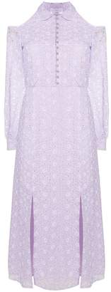 Vilshenko broderie anglaise cold shoulder dress