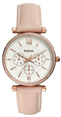e4365e85e2c Fossil Carlie Multifunction Rose Gold-Tone Leather Watch jewelry