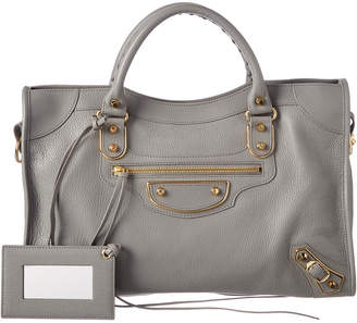 Balenciaga Classic Metallic Edge City Medium Leather Shoulder Bag
