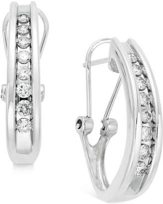 Macy's Diamond Channel-Set J-Hoop Earrings (1/2 ct. t.w.) in 10k White or Yellow Gold