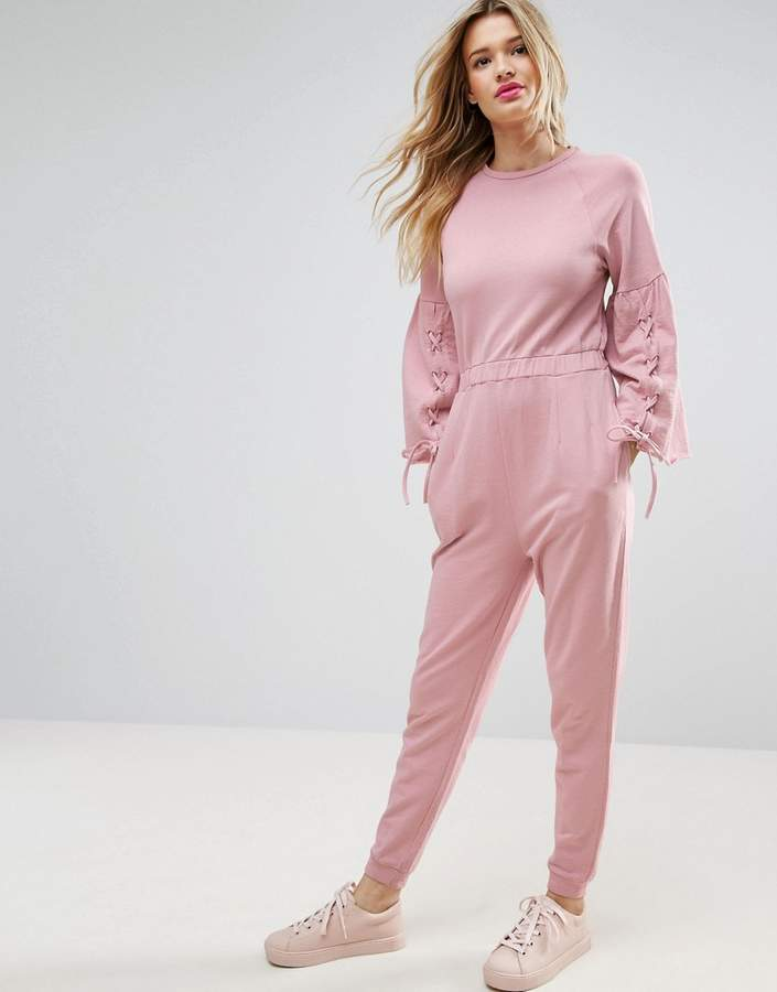 Asos ASOS Jumpsuit in Sweat with Flared Sleeve and Lace Up Detail