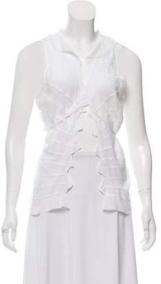DKNY Sleeveless Ruffle-Accented Top