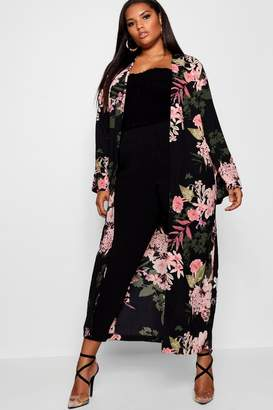 boohoo Plus Floral Longline Duster Jacket