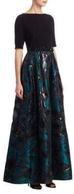 Teri Jon Quarter-Sleeve Jacquard Ball Gown