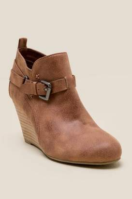 Report Greco Buckle Wedge Ankle Boot - Tan