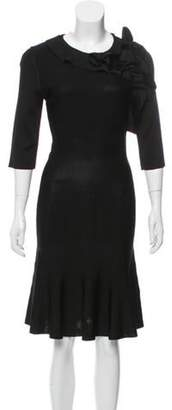 Lanvin Knit Ruffle-Trimmed Dress w/ Tags Black Knit Ruffle-Trimmed Dress w/ Tags