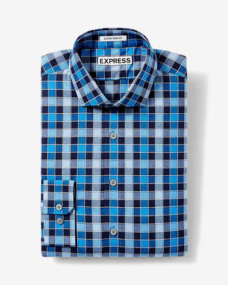 Express Slim Small Check Dress Shirt