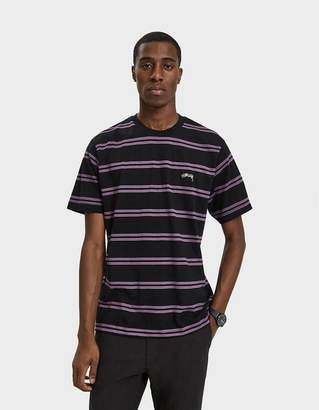 Stussy S/S Double Stripe Crewneck Tee in Black
