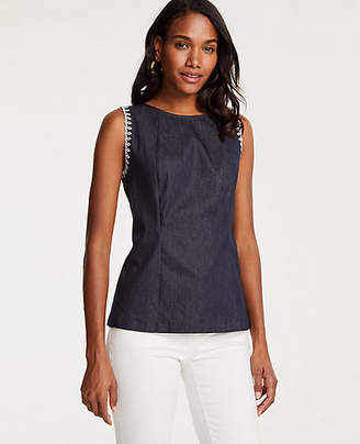 Ann Taylor Embroidered Denim Shell