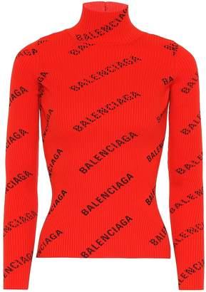 Balenciaga Allover Logo ribbed turtleneck top