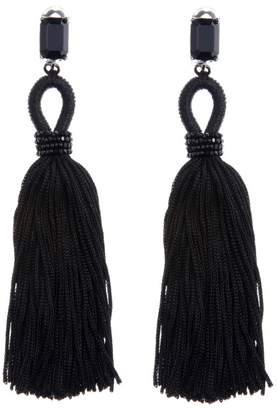 Oscar de la Renta Black Long Silk Tassel Earrings