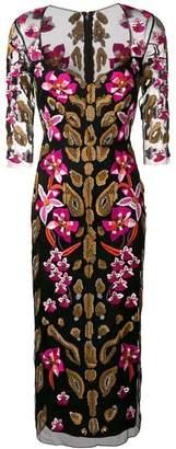 Temperley London iris embroidered sweetheart dress