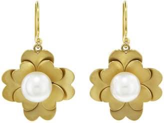 Irene Neuwirth Akoya Pearl Flat Gold Flower Earrings