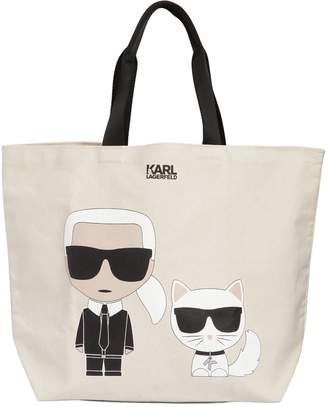 At Luisaviaroma Karl Lagerfeld K Ikonik Cotton Canvas Tote Bag