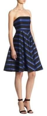 Halston Strapless Stripe Fit& Flare Dress