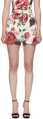 Dolce & Gabbana Multicolor Peonie Brocade Shorts