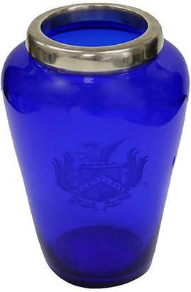 One Kings Lane Vintage Antique Cobalt & Sterling Vase with Crest - Rose Victoria