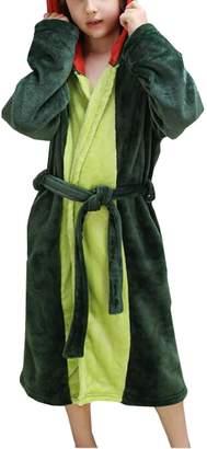K bathrobe K Kids' Pink and Dinosaur Hooded Flannel Bathrobe