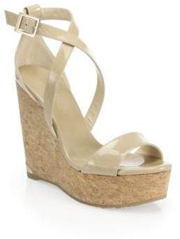Jimmy Choo Portia 120 Patent Leather& Cork Platform Wedge Sandals