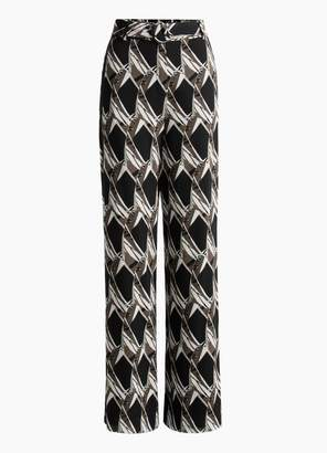 St. John Abstract Floral Tile Silk Georgette Pant