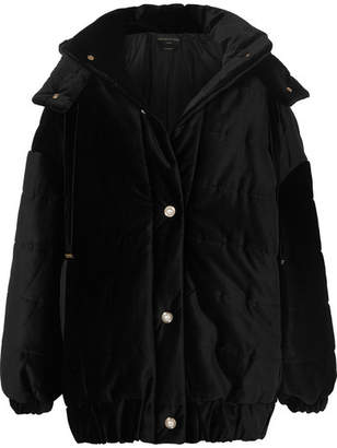 Mother of Pearl Porter Hooded Faux Pearl-embellished Quilted Cotton-velvet Jacket - Black