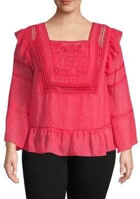 Plus Embroidered Squareneck Top