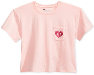 Under Armour V-Day Cropped Pocket Graphic T-Shirt, Big Girls (7-16) $22.99 thestylecure.com