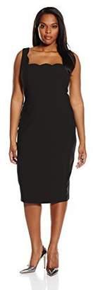 Single Dress Women's Plus Size Scalloped Neckline Sheath Dress