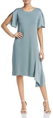 Nic+Zoe Mixed Media Asymmetric Flutter Dress