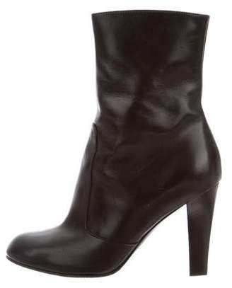 Sergio Rossi Leather Round-Toe Ankle Boots