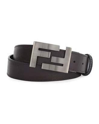 Fendi Double-F Buckle Textured Leather Belt, Brown/Black $500 thestylecure.com